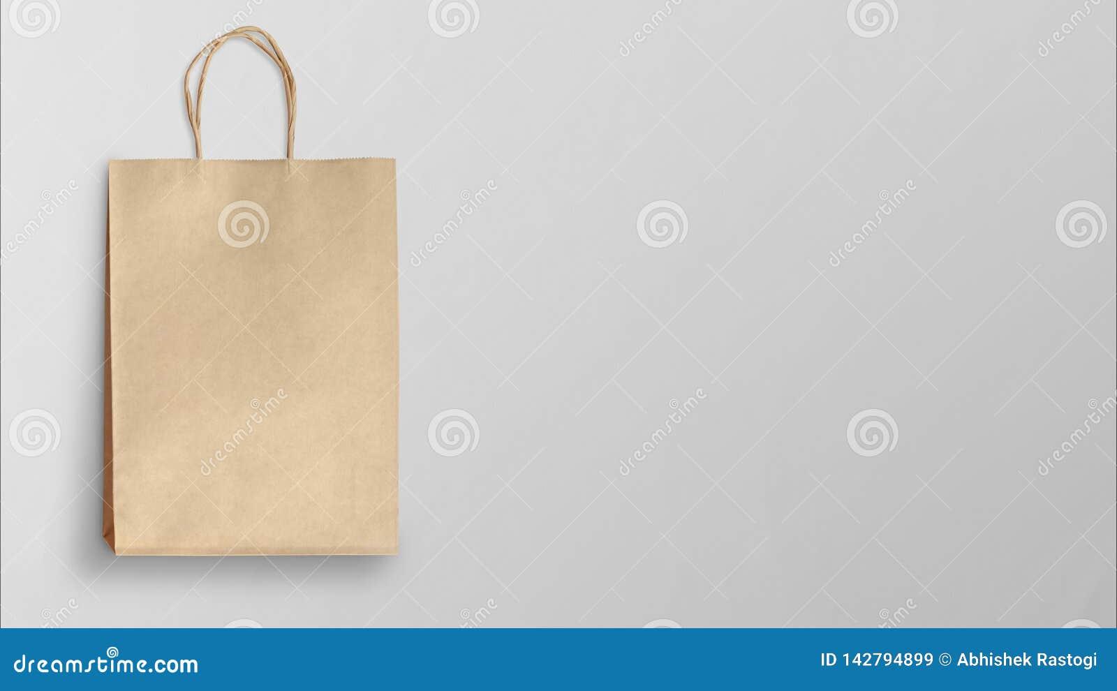 Document het winkelen zak op grijze achtergrond