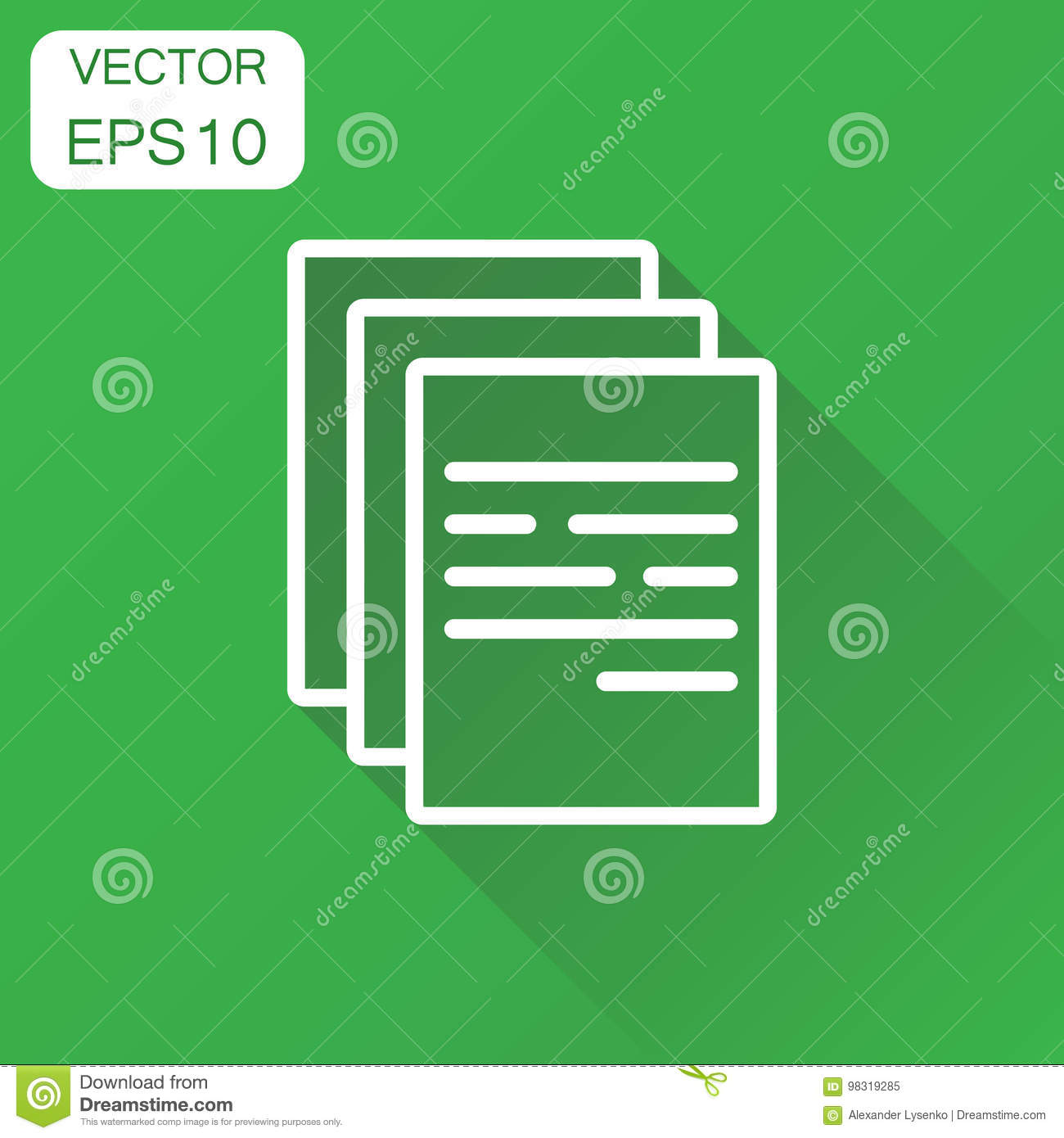 Document icon. Business concept document note pictogram. Vector