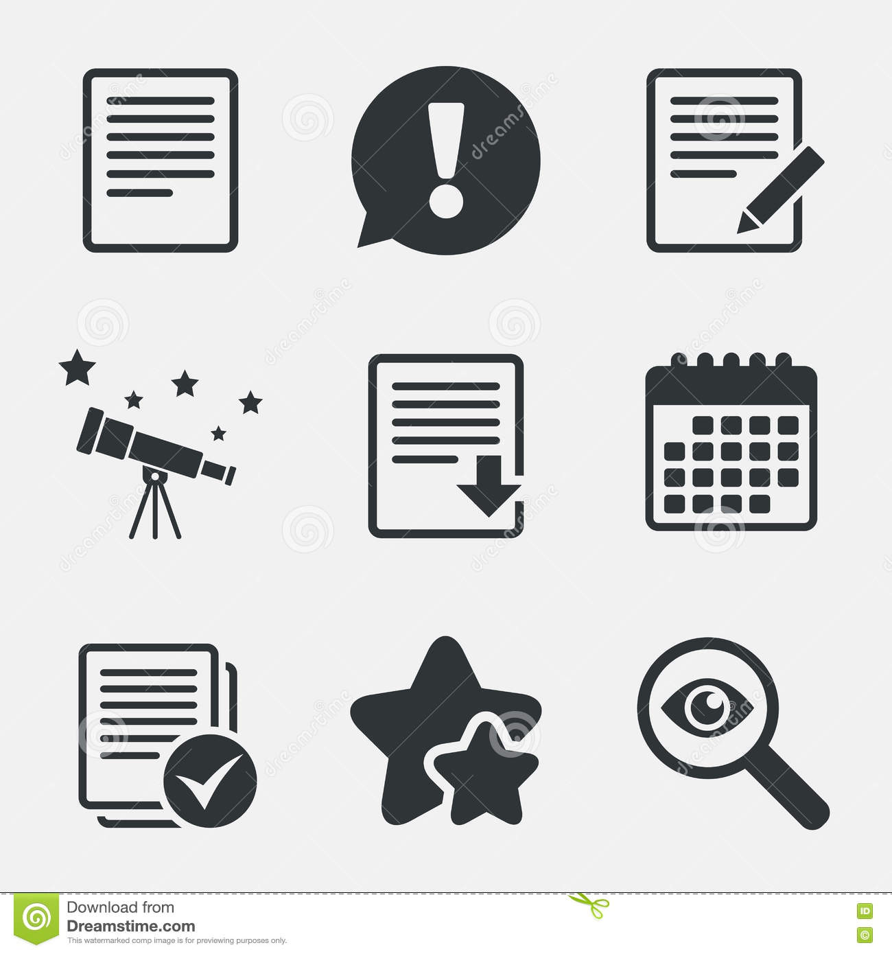 Document Icons  Download File And Checkbox  Stock Vector