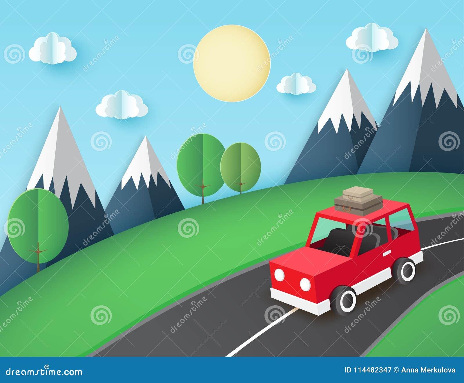 Document kunstachtergrond, rode auto met bagage op de weg