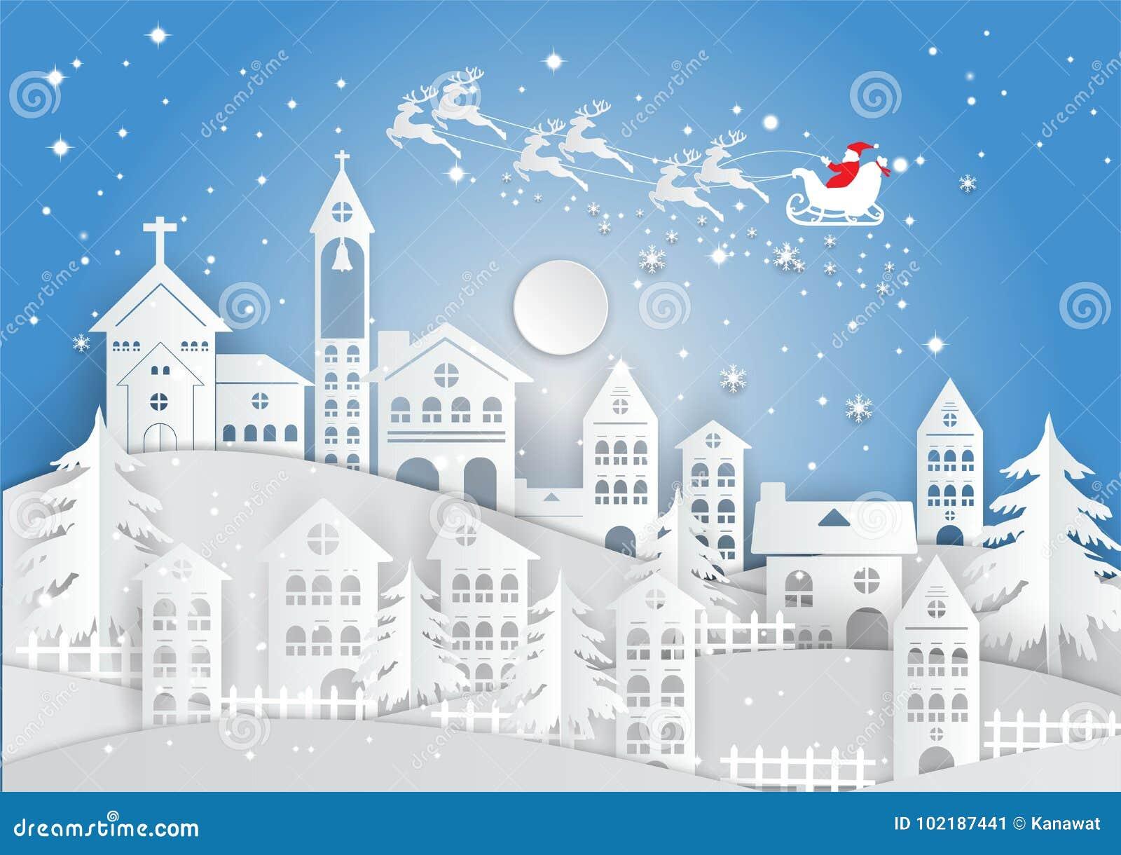 Document kunststijl, de wintervakantie met huis en Santa Claus-achtergrond Kerstmisseizoen Vector illustratie