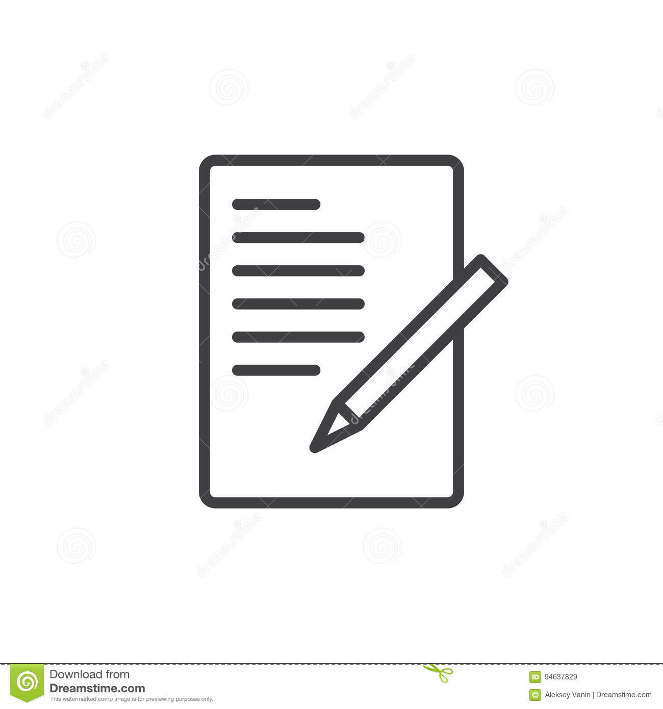 Document with pen form line icon outline vector sign linear document with pen form line icon outline vector sign linear style pictogram isolated on white biocorpaavc Choice Image