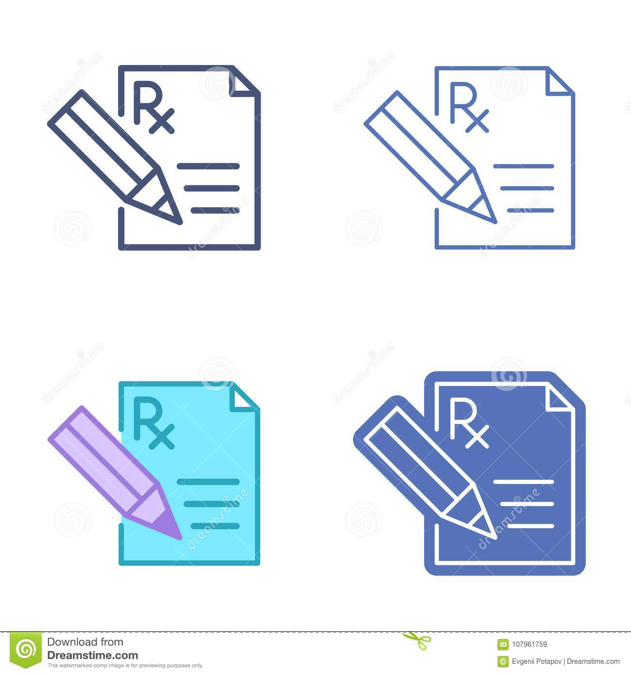 Document With Pen And Prescription Symbol Medicine Vector Outli