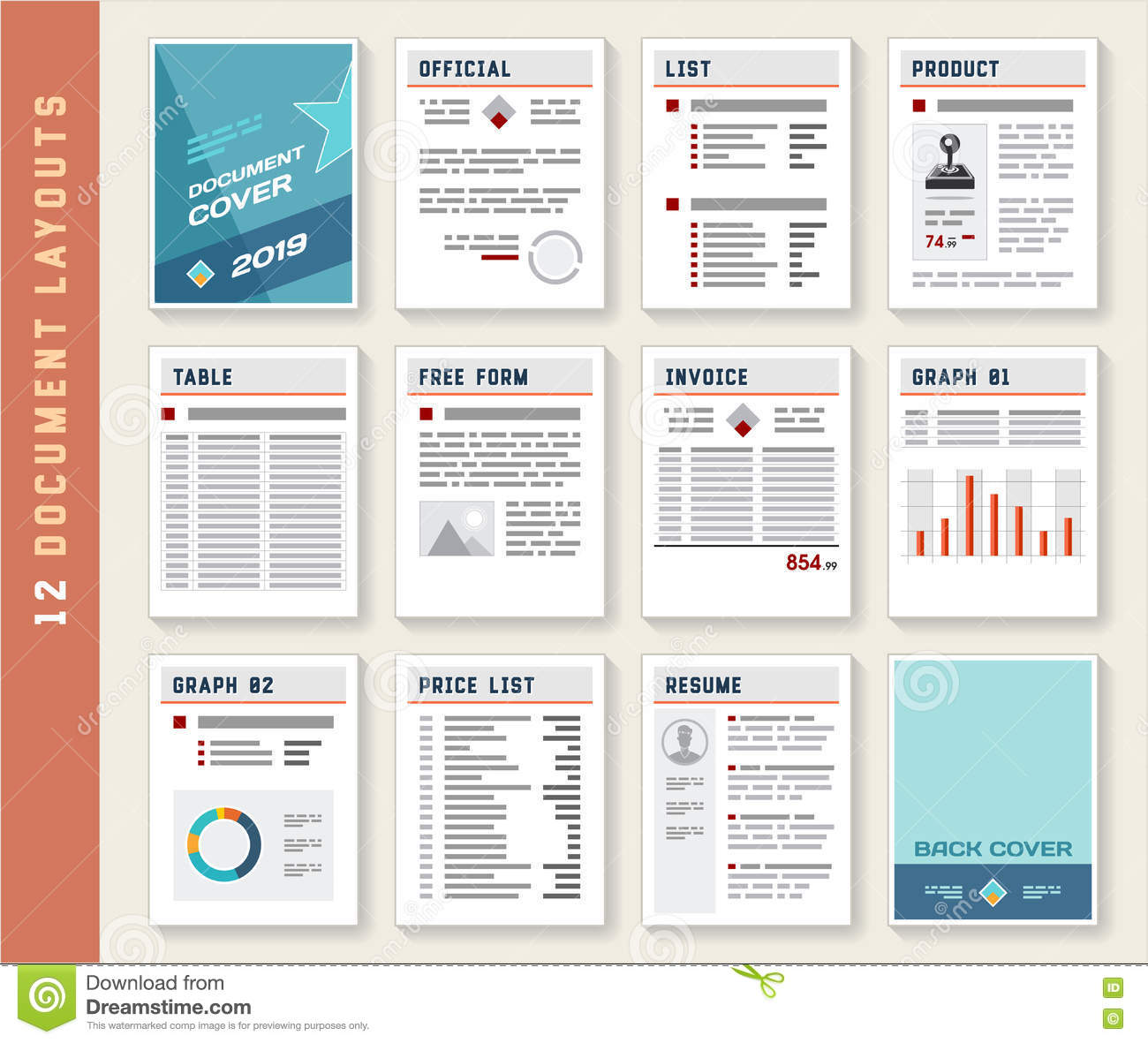 Document Report Layout Templates Mockup Set Stock Vector