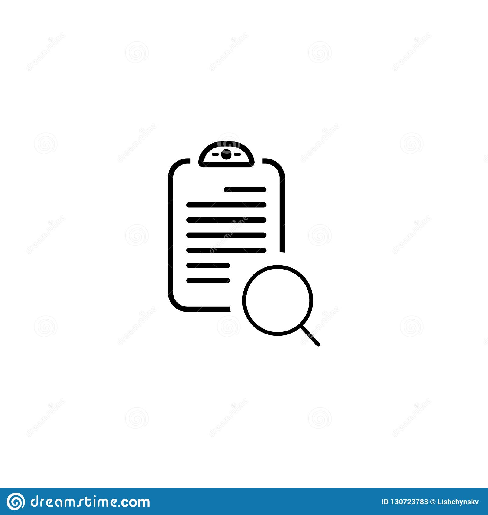 document with search icon. vector simple symbol