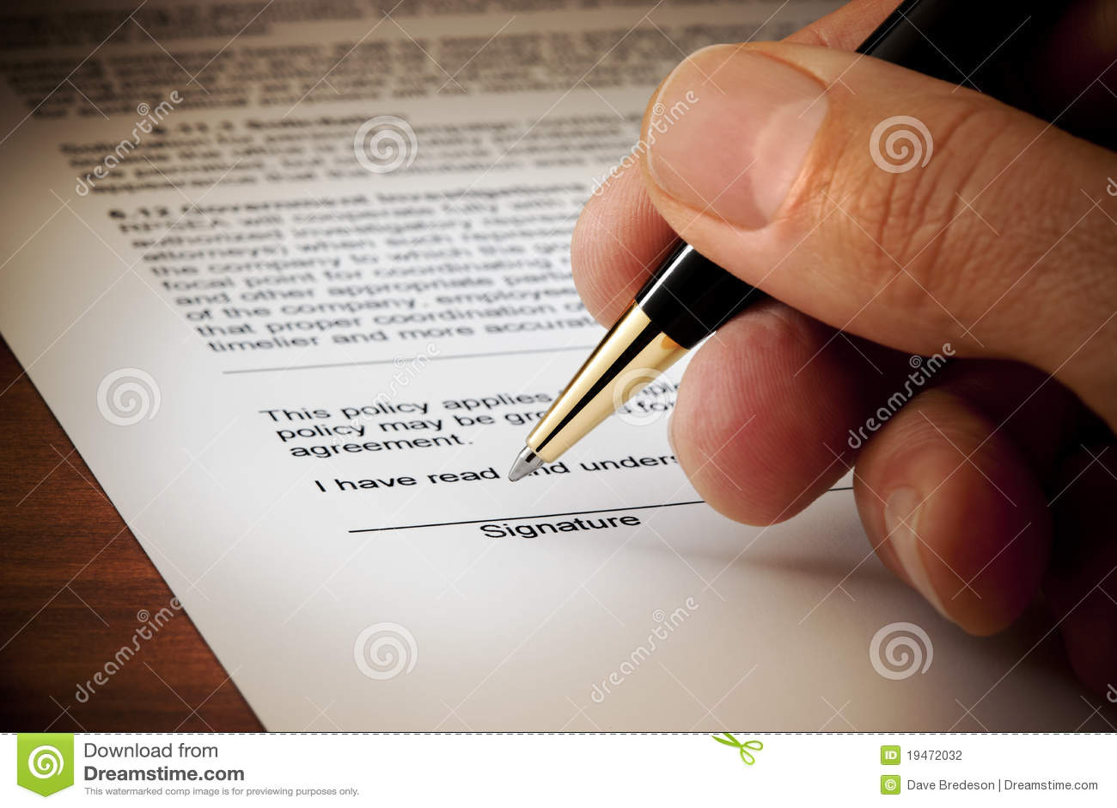Document signé de signature de contrat