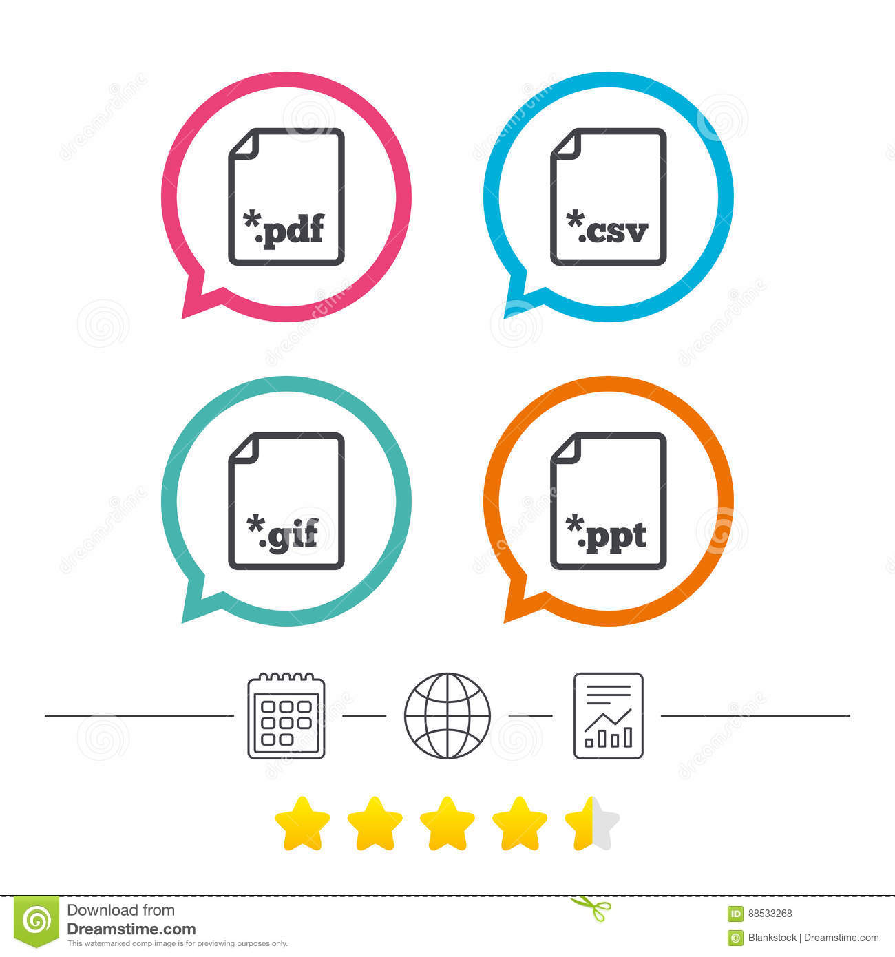 Document Signs File Extensions Symbols Stock Vector Illustration
