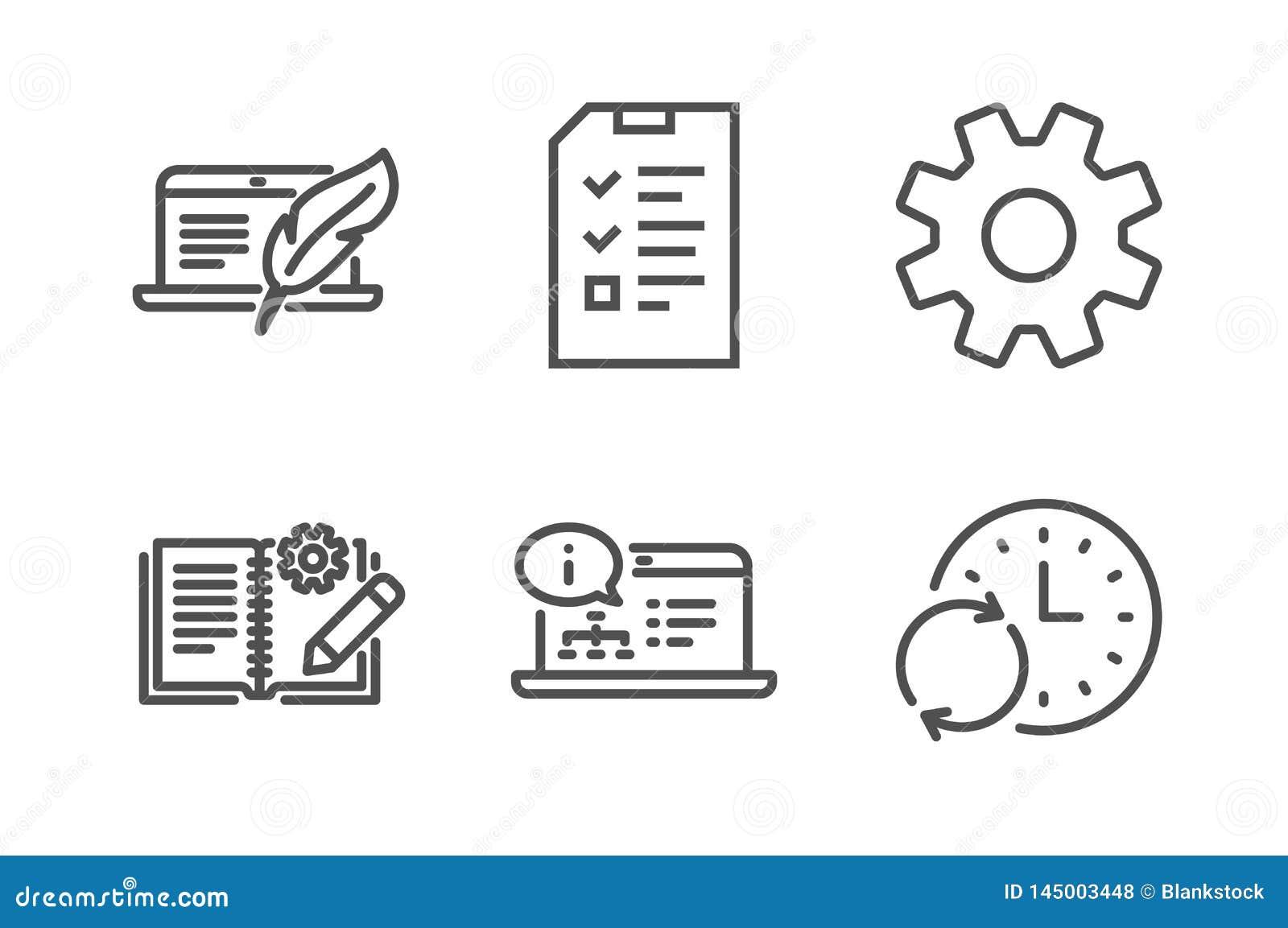 Documentation d ing?nierie, documentation en ligne et ensemble d ic?nes d entrevue Vecteur