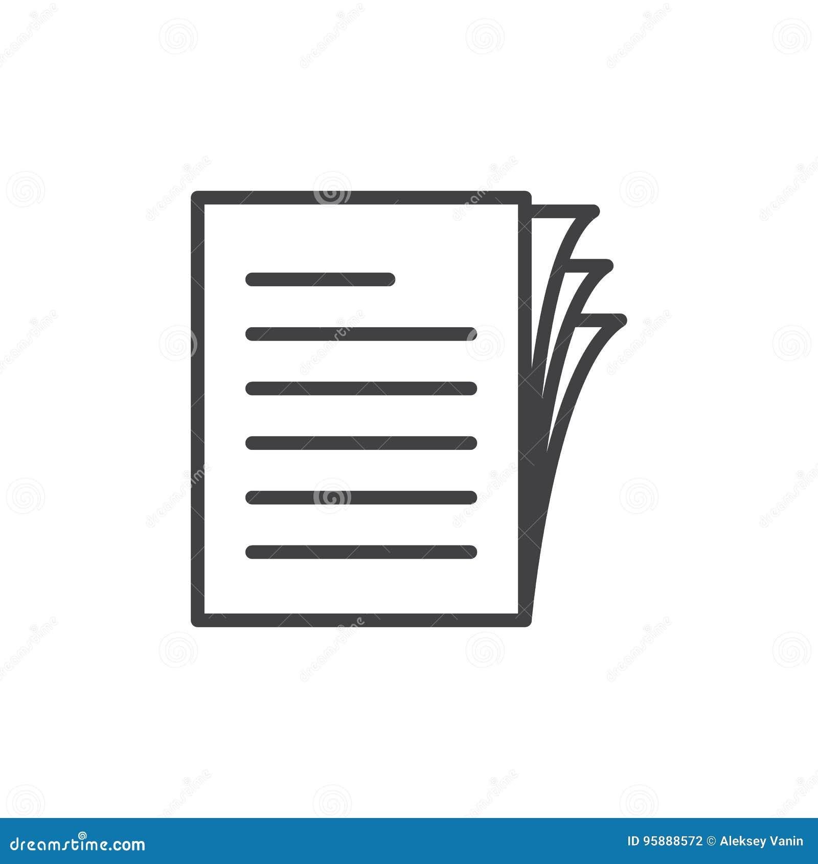 Documenti la linea l icona, il segno di vettore del profilo, pittogramma lineare del mucchio delle carte di stile isolato su bian