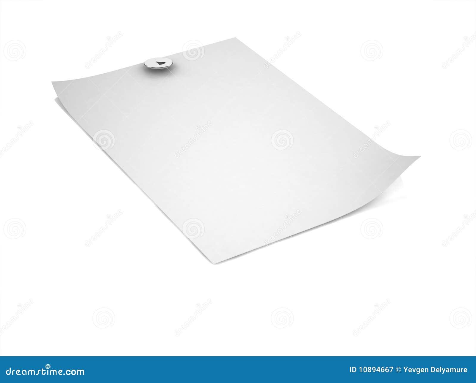 Documento in bianco 3D con il illustrazione-perno