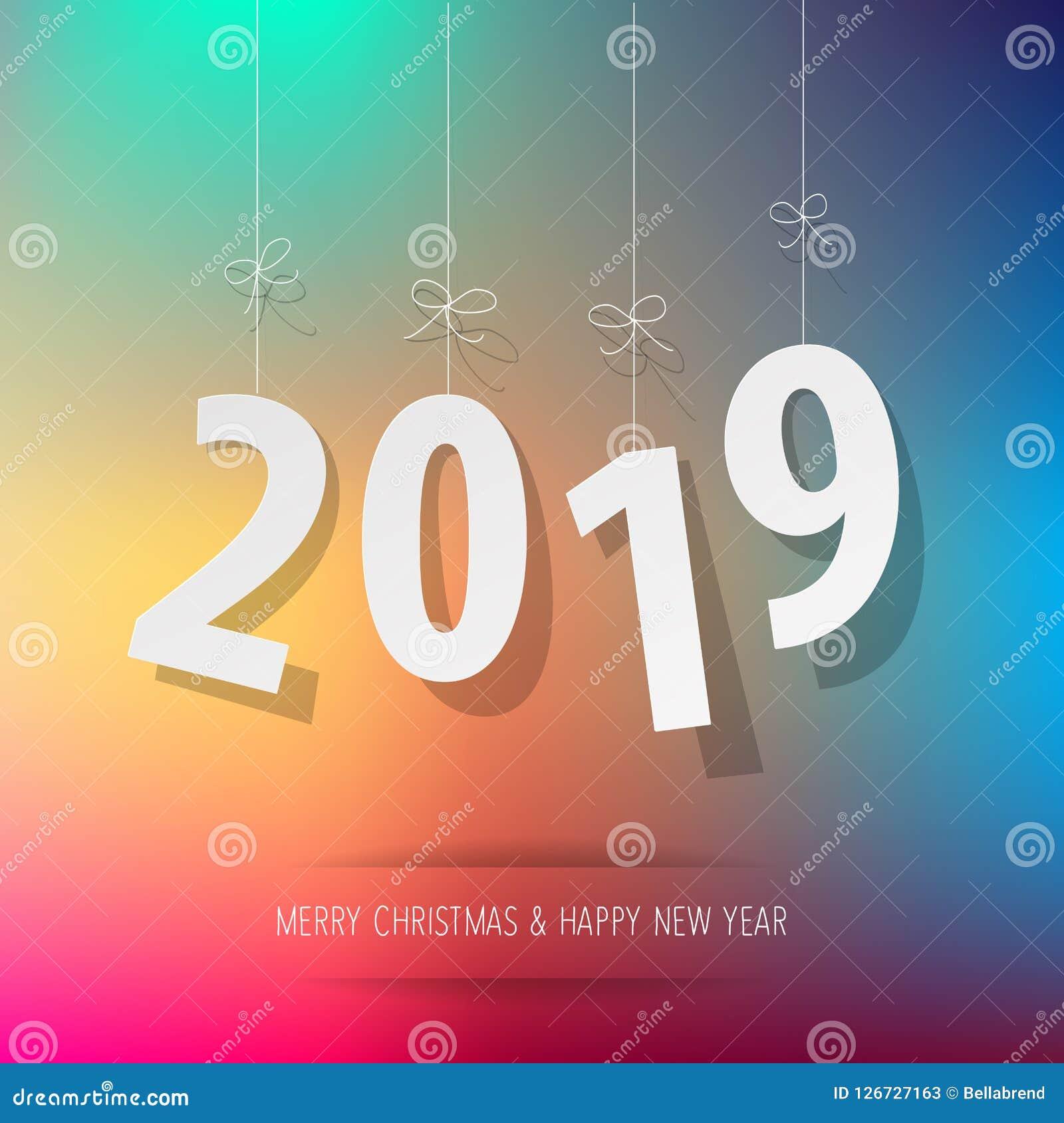 Documento 2019 dígitos en un fondo del bokeh del arco iris