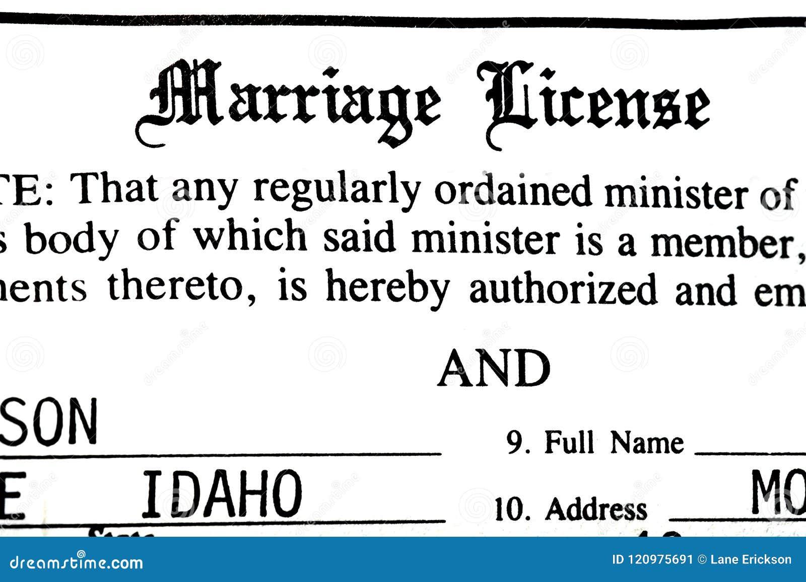 Documento da certificação do certificado de união para núpcias