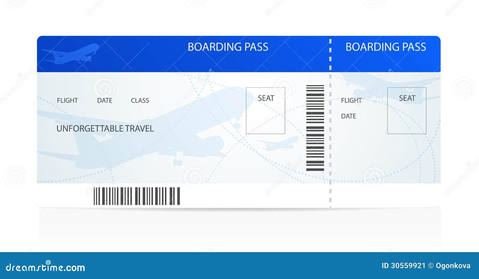 Documento De Embarque (boleto) Con El Avión (aeroplano) Ilustración ...