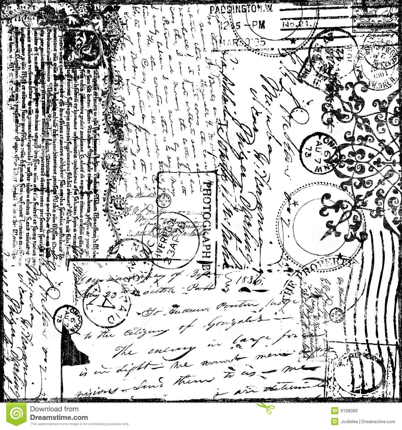 Documento introduttivo del Victorian del collage del testo dell annata