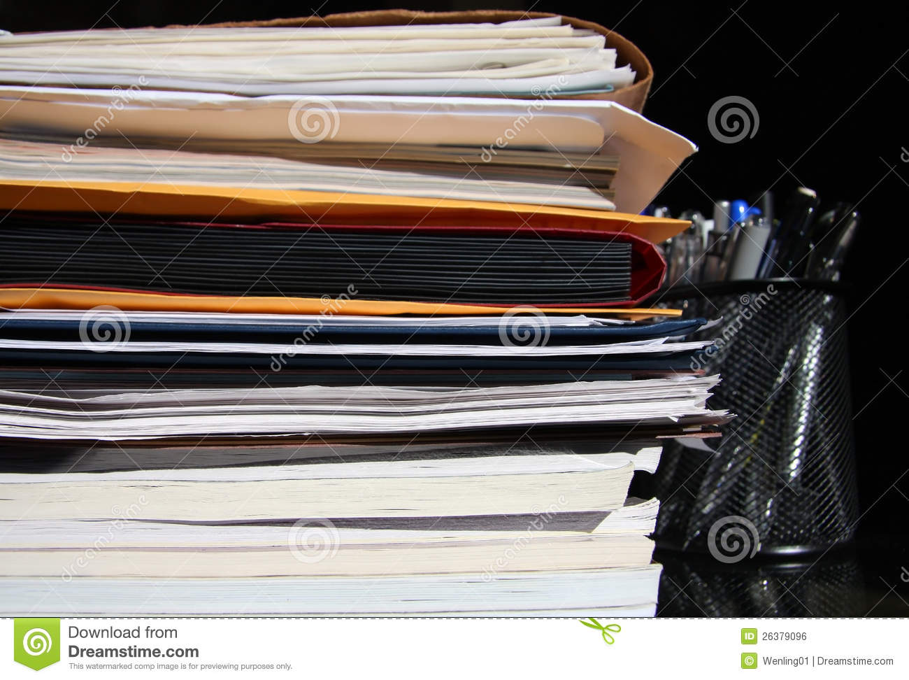 Documents on the desk