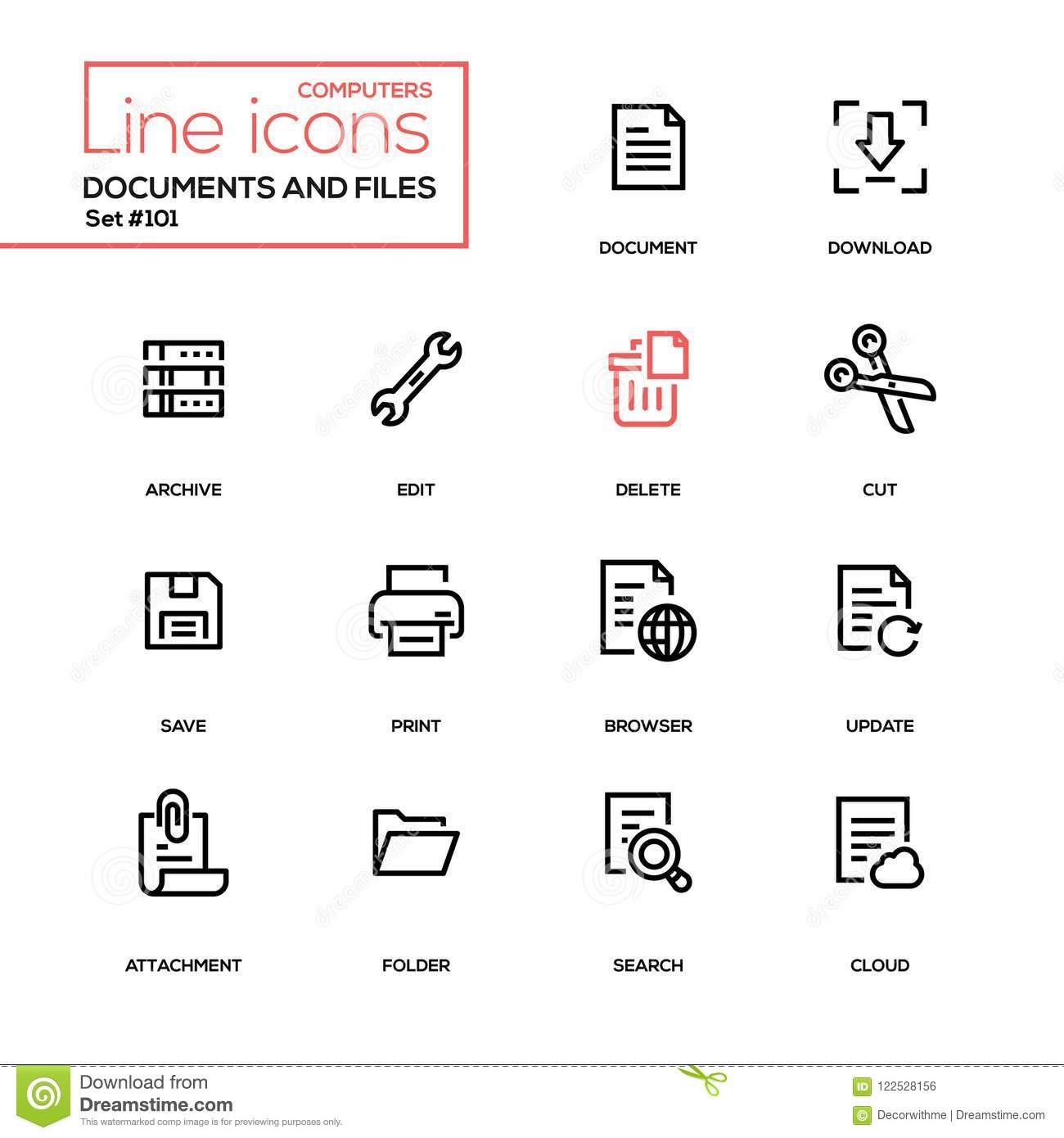 Documents And Files - Modern Line Design Icons Set Stock