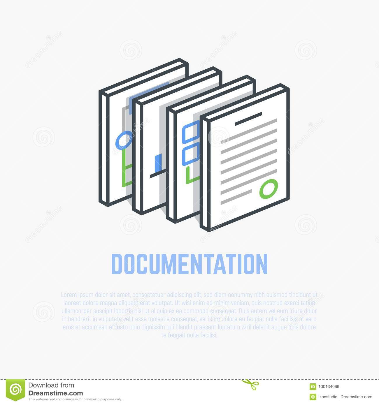 Documentation isometric illustration