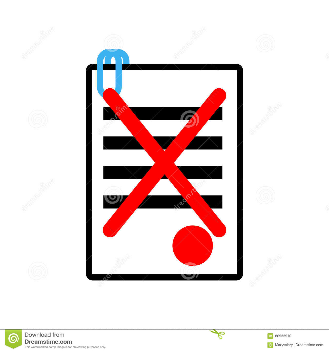 Documents Reject Icon Sign Office Symbol Contract Sheet With R