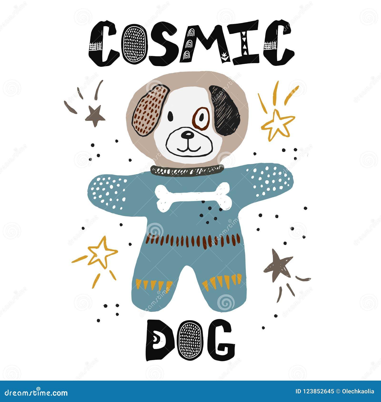 Dod i barnslig illustration för scape Kosmonautteckning Hand dragen barnkammareaffisch