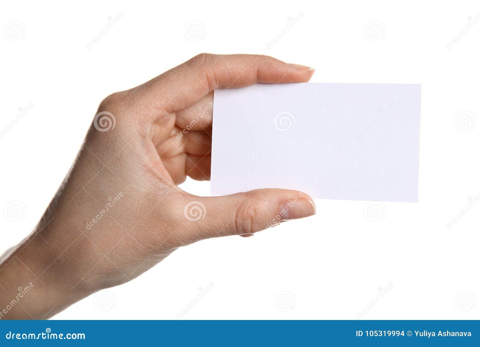 Dodać pustą wizytówkę kobiety trzymać ręce ma twój tekst