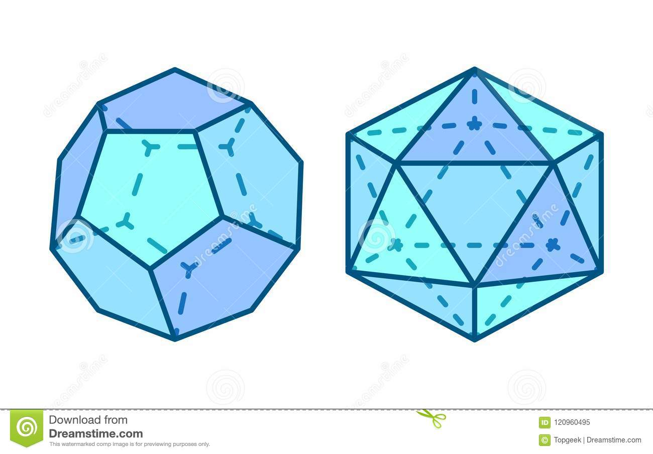 dodecahedron and icosahedron vector illustration stock vector