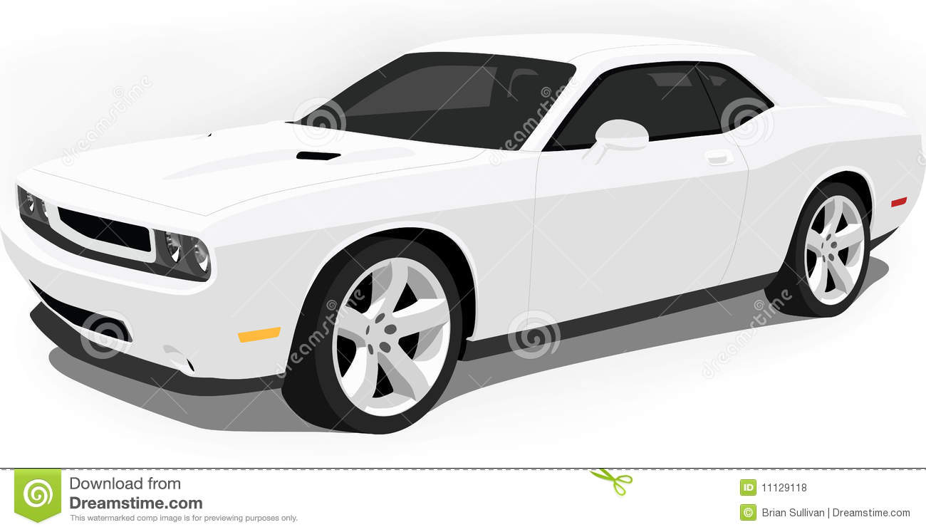 Dodge Challenger Muscle Car On White Royalty Free Stock