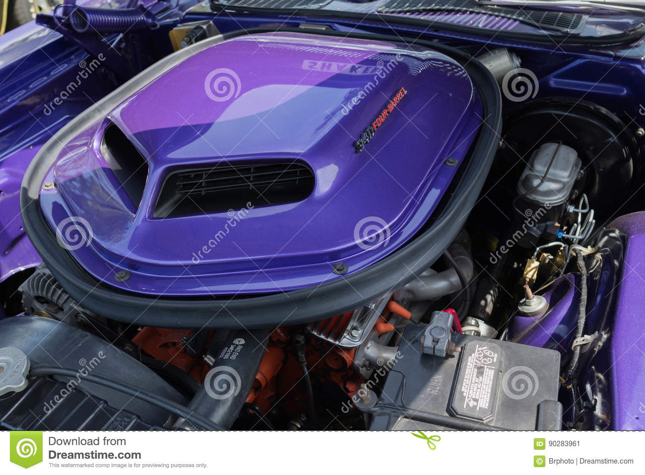 Dodge Challenger Rt Engine On Display Editorial Photo Image Of