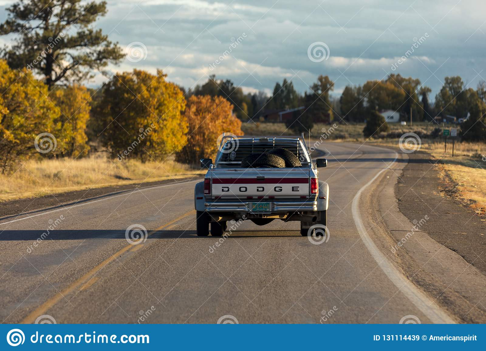 Dodge Pickup truck drives in Southern Colorado