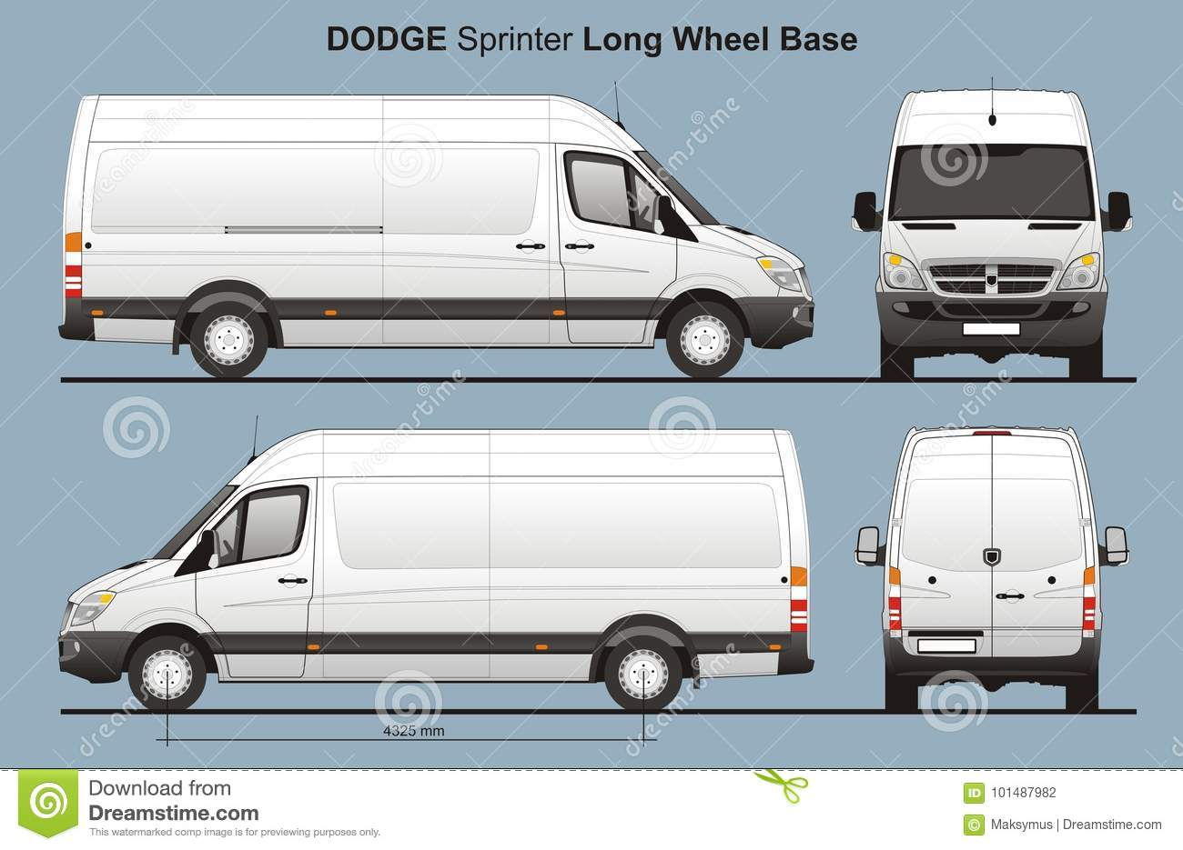 1f8001e27e Dodge Sprinter LWB Delivery Van Blueprint Editorial Photography ...