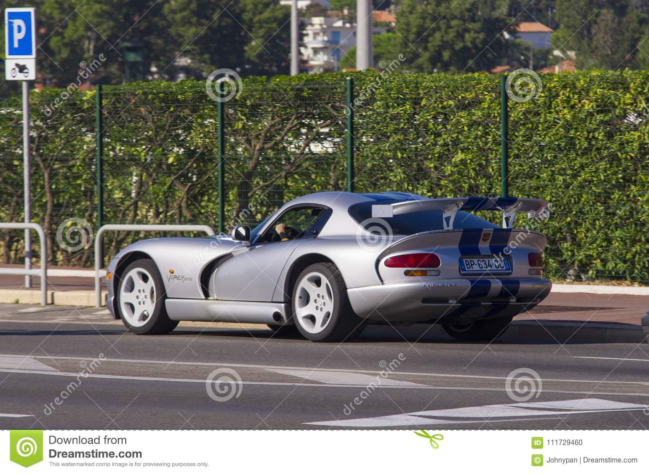 dodge viper gts sports car driving in marseille france editorial image image of auto race. Black Bedroom Furniture Sets. Home Design Ideas