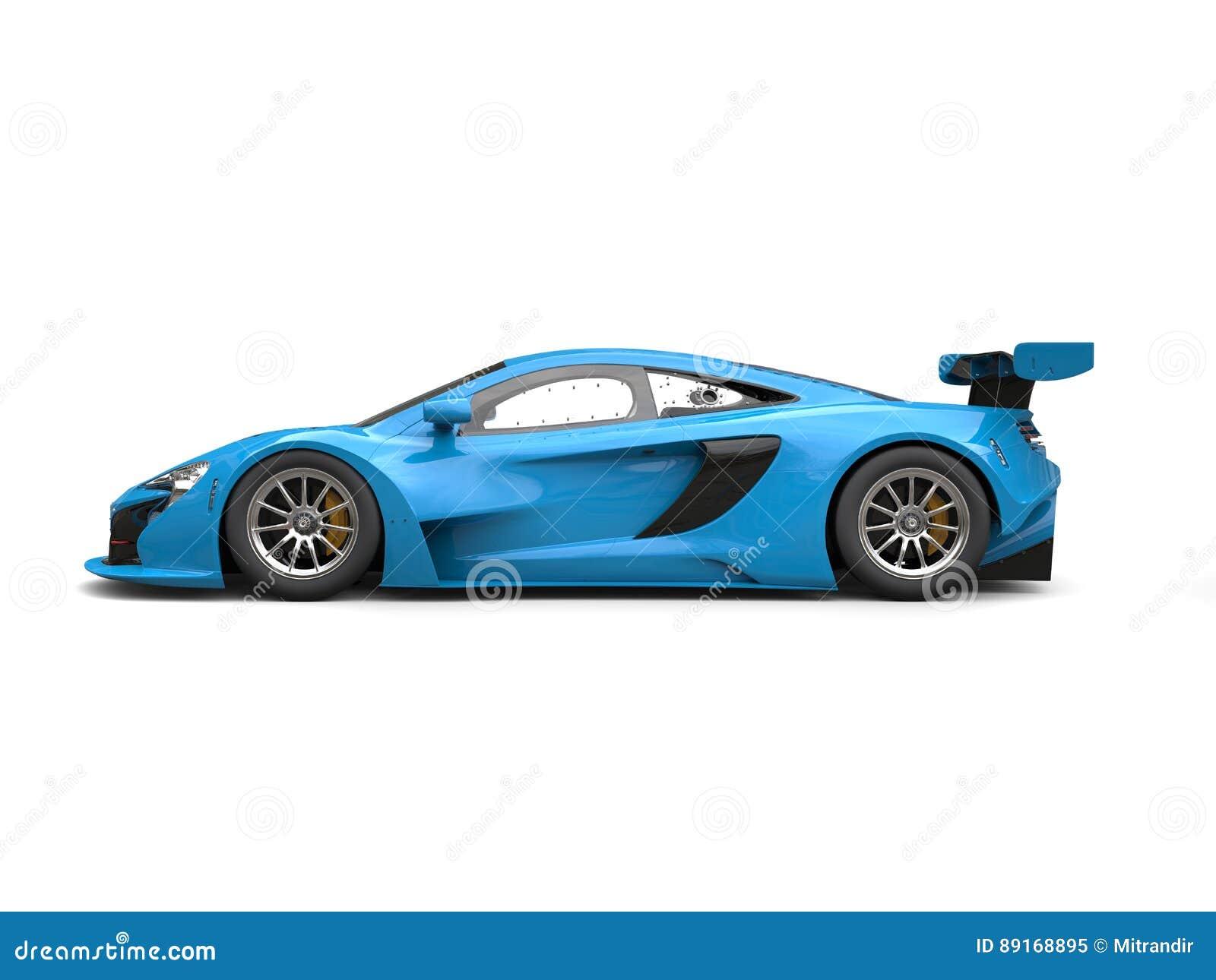 dodger blue shiny modern race car side view stock