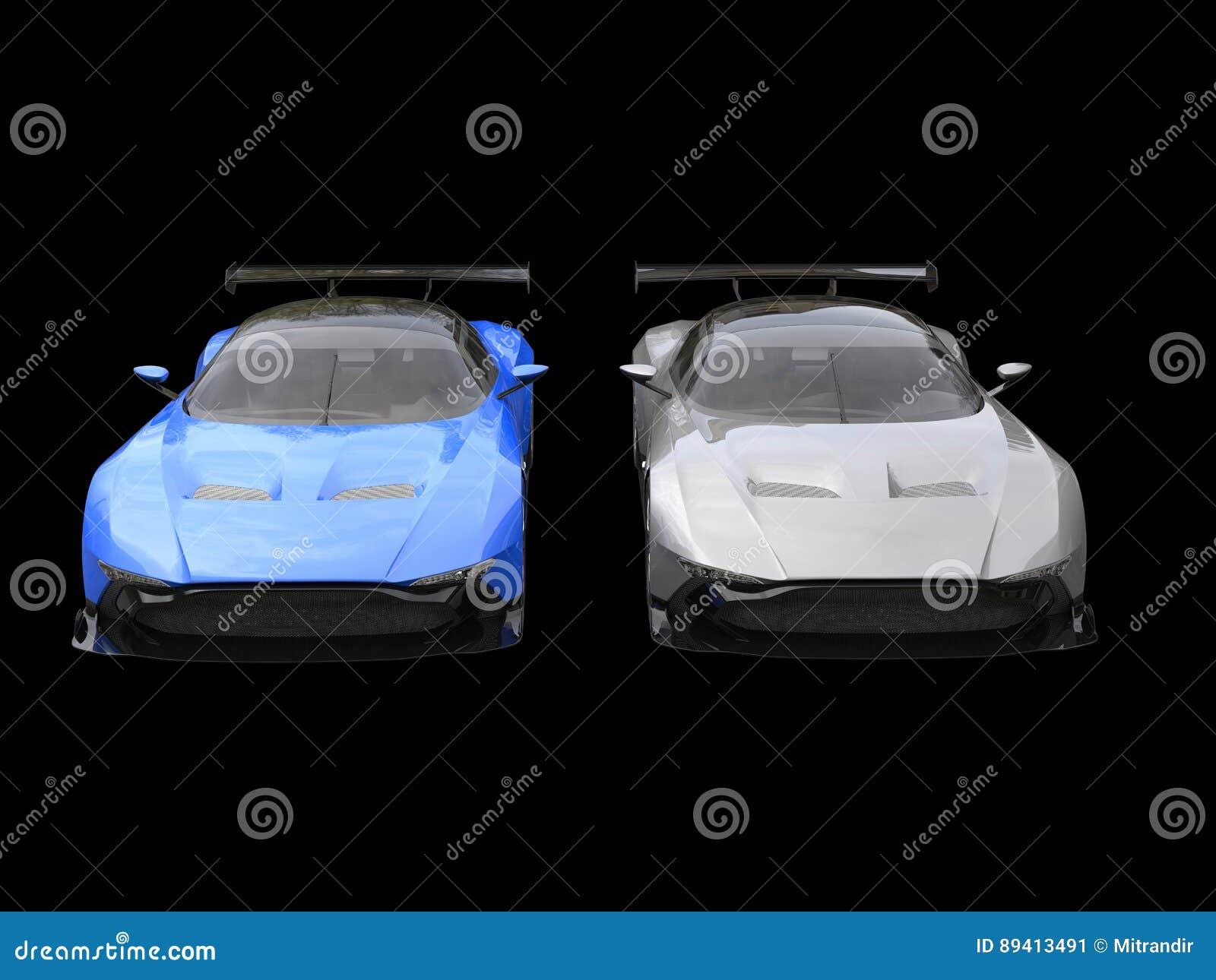 DodgerBlue e carros de corridas modernos da prata - de lado a lado