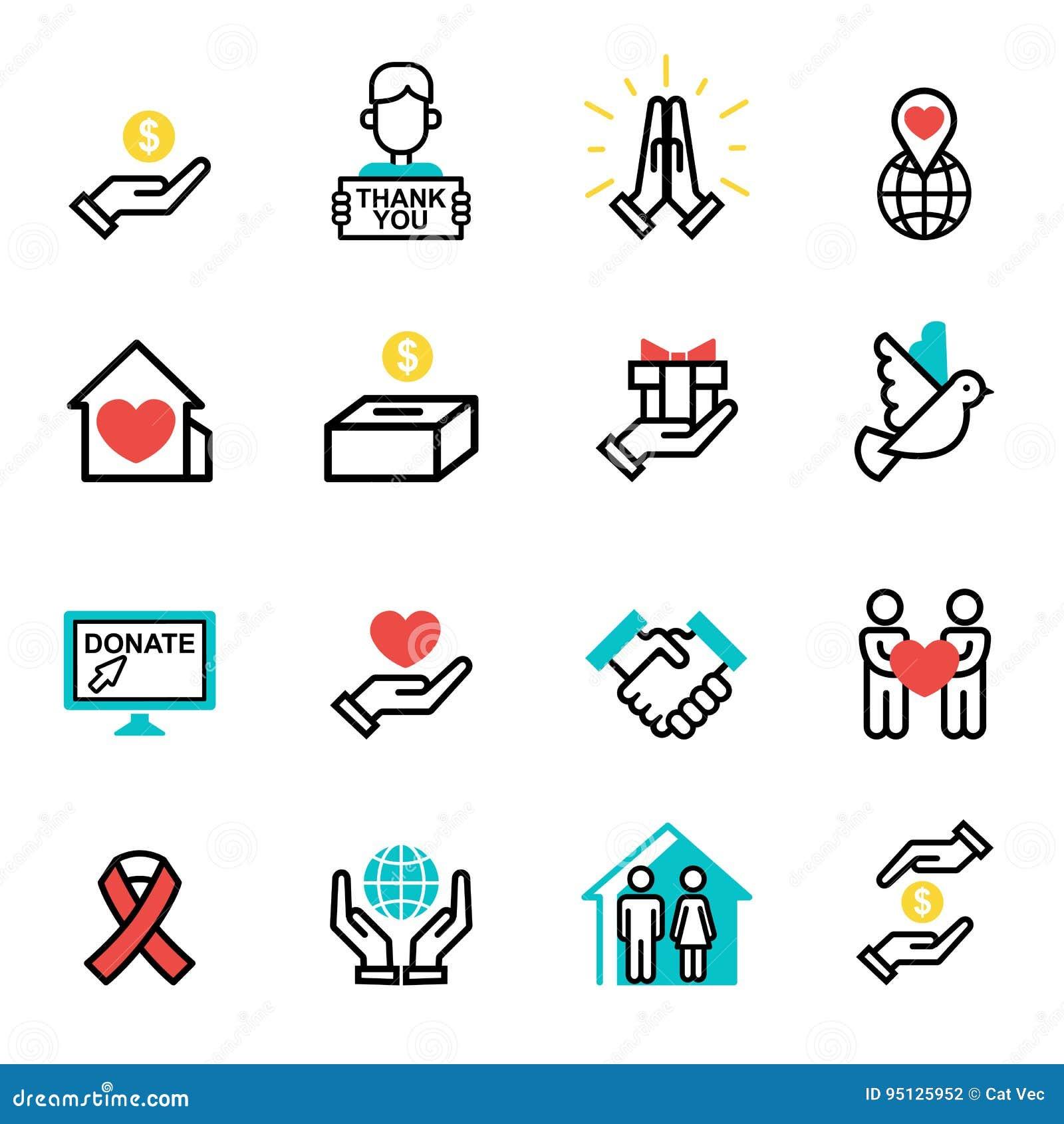 Doe vetor ajustado do apoio da humanidade dos símbolos da filantropia da caridade da contribuição da doação do ícone da ajuda dos