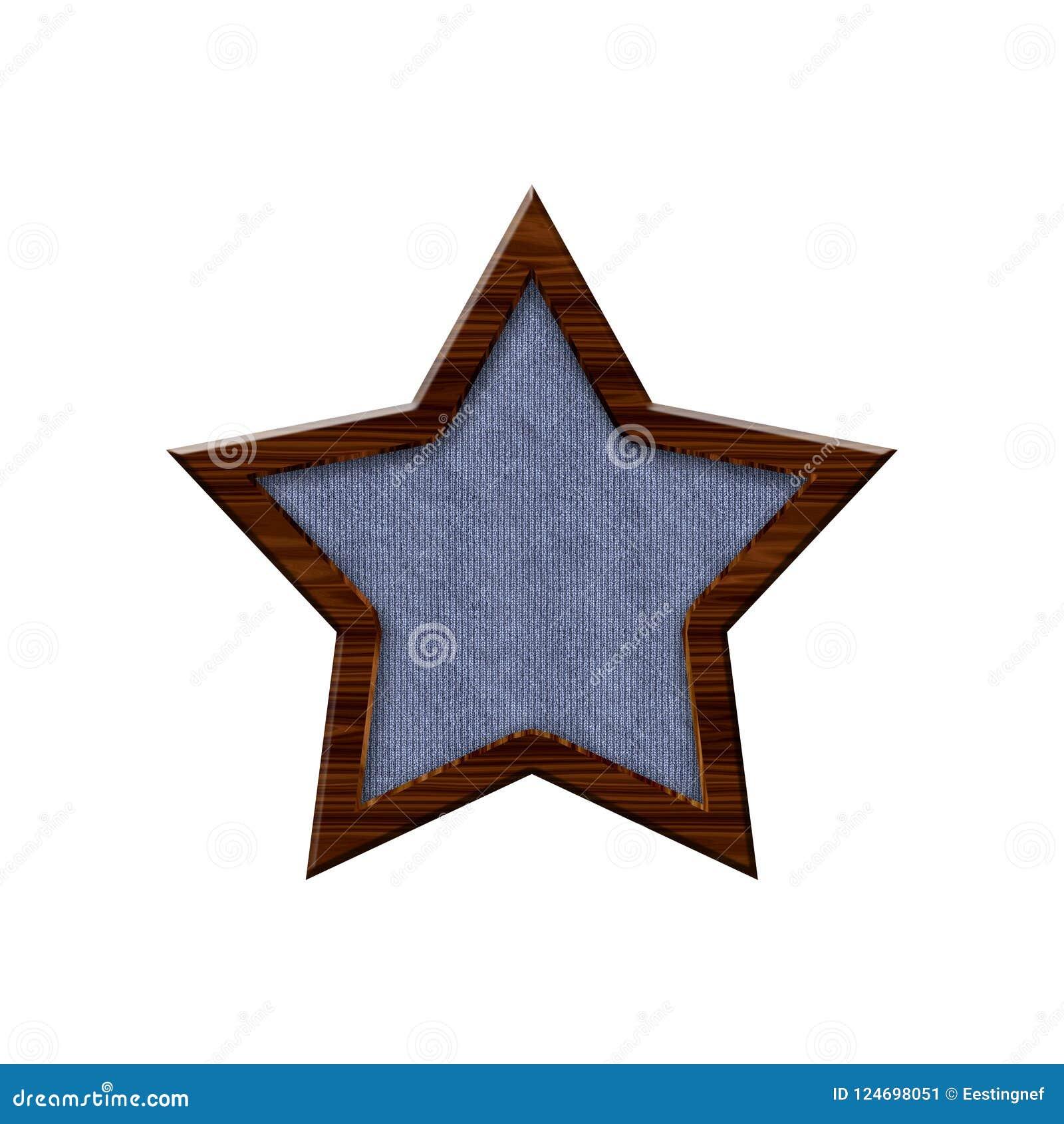 Doekkenteken met houten grens in vorm van ster