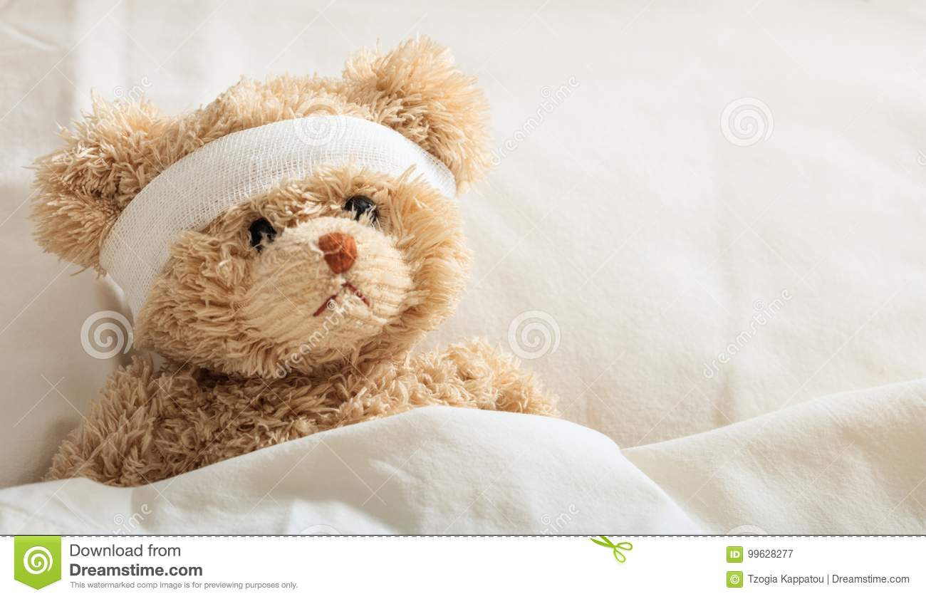 Doente do urso de peluche no hospital