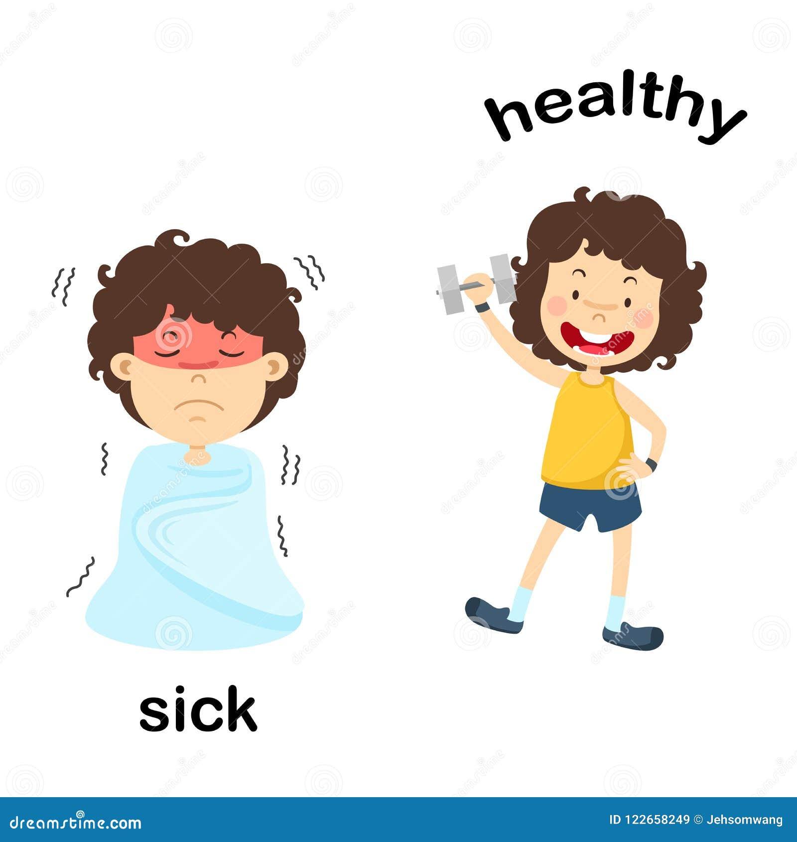 Doente e saudável opostos