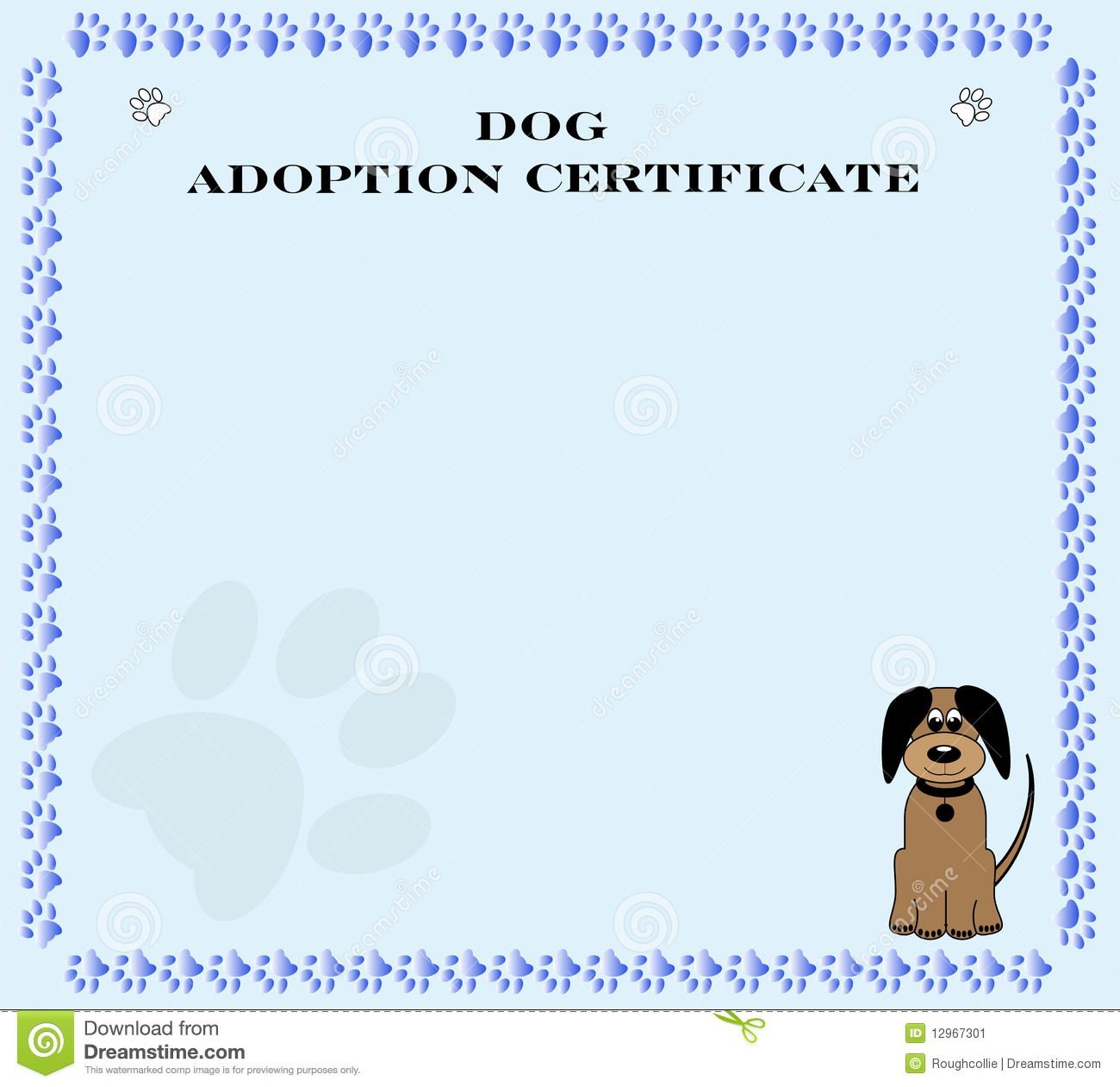 Pretty blue paw print dog adoption certificate for rescue / shelter ...