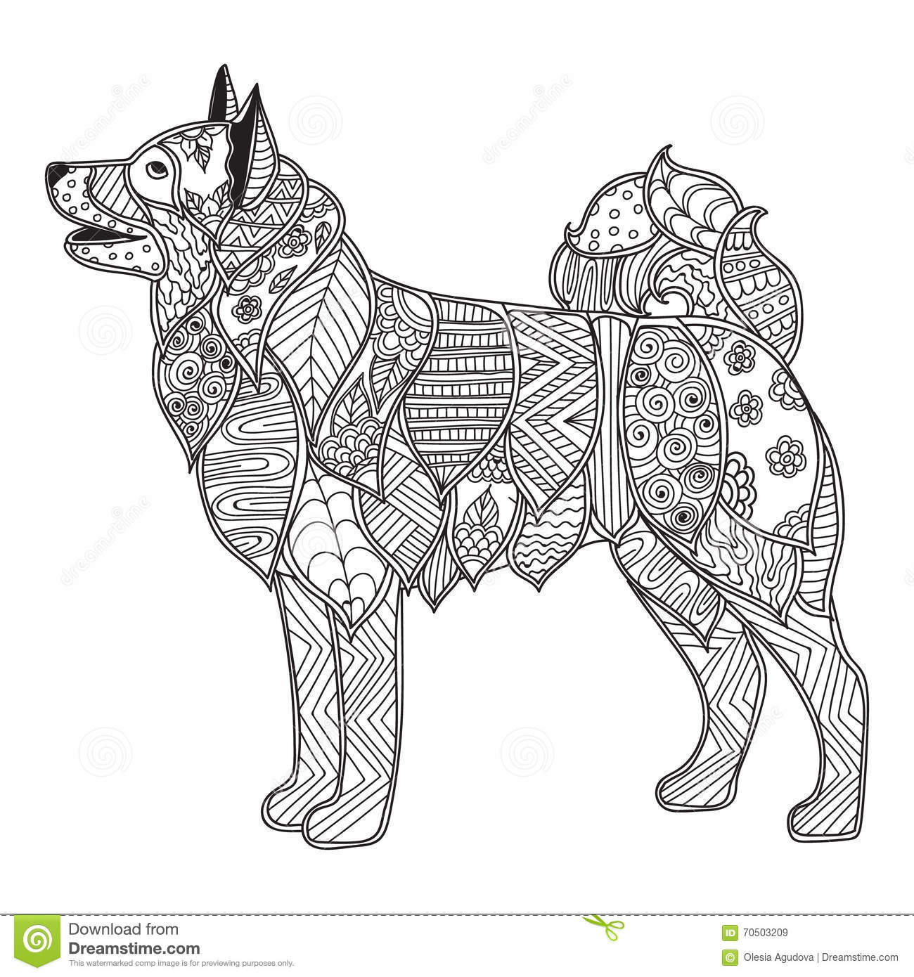 Stress Coloring Pages Animals : Dog adult antistress or children coloring page cartoon
