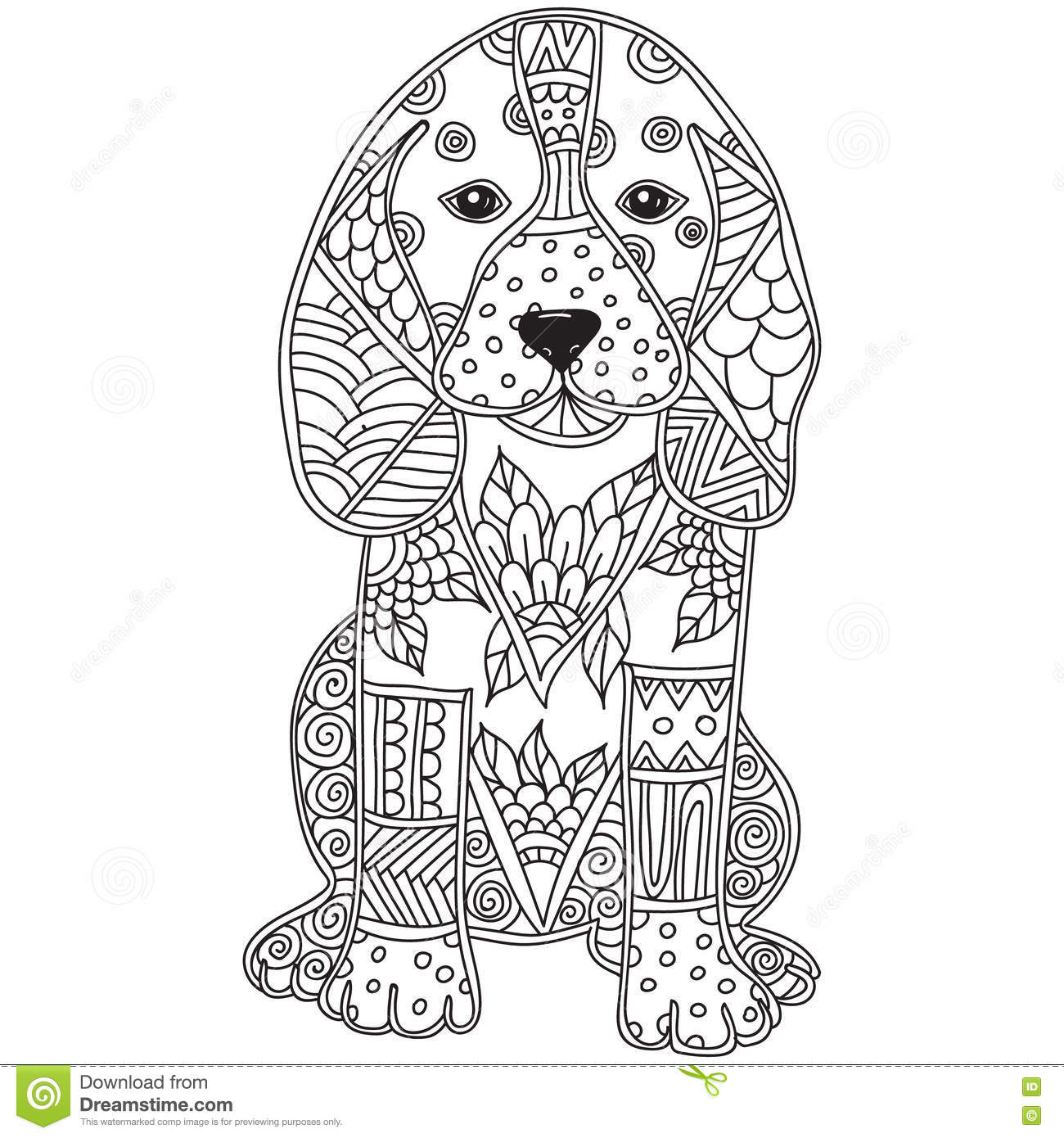 Dog Adult Antistress Or Children Coloring Page Stock