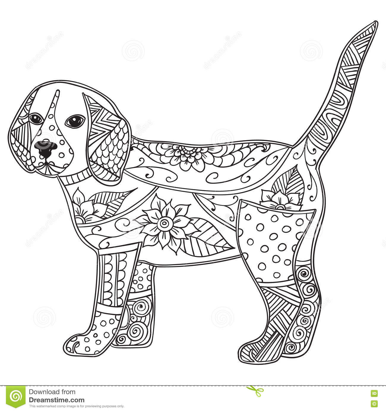 Dog Adult Antistress Children Coloring Page Vector