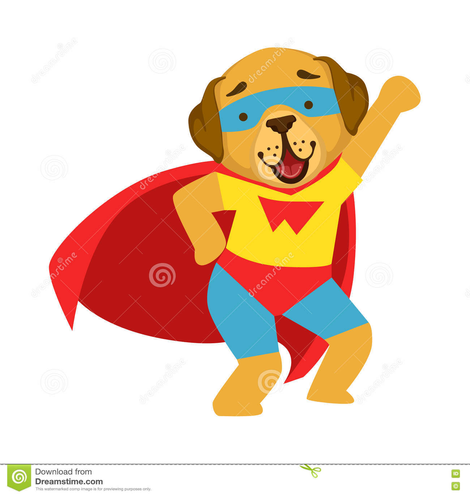 Dog Animal Dressed As Superhero With A Cape Comic Masked