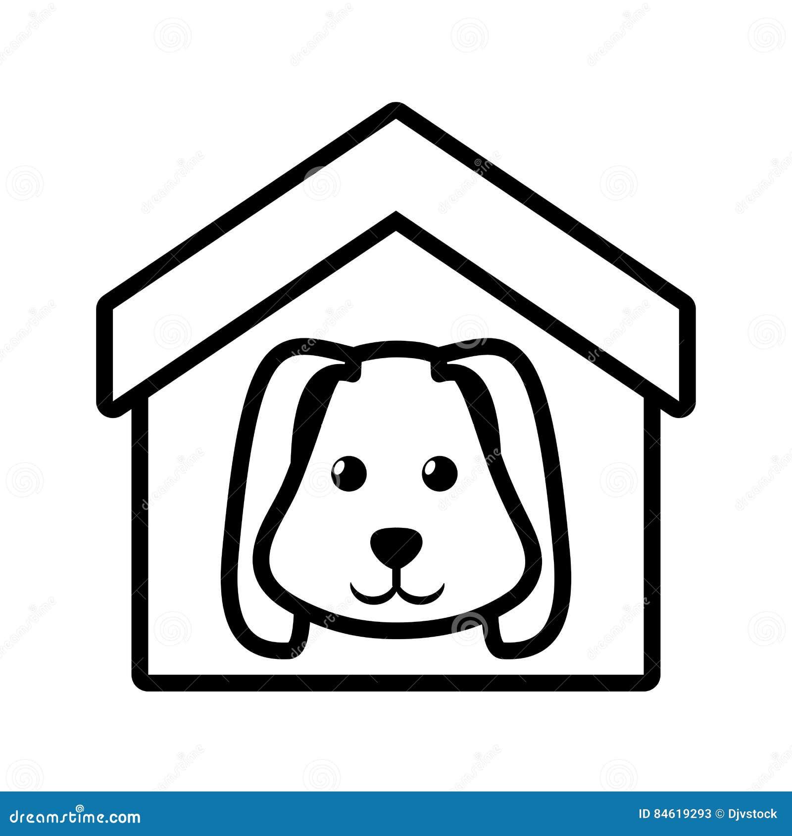 dog animal pet ear long house pet outline stock illustration