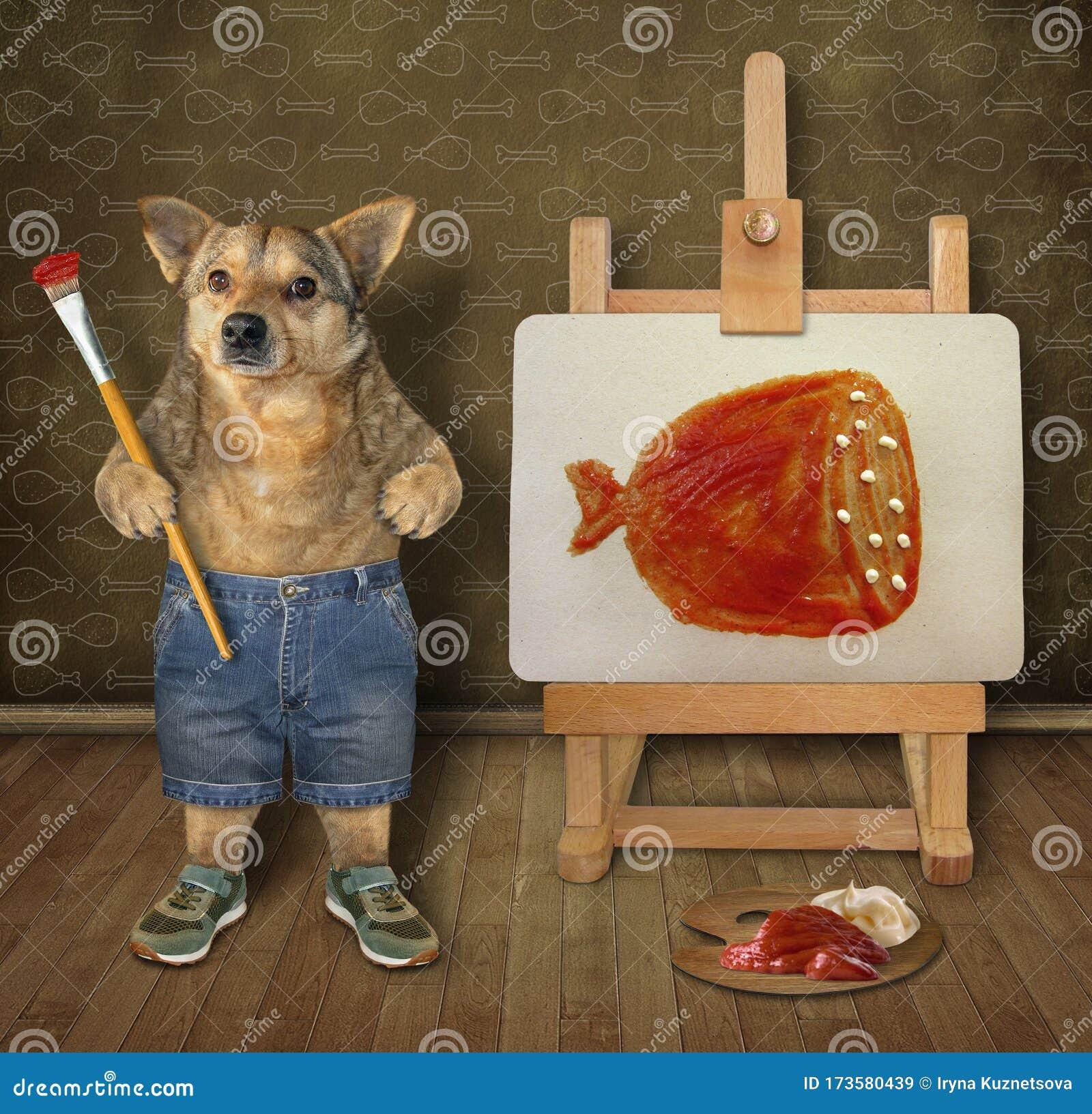 Dog Artist Painting On Canvas 3 Stock Image Image Of Clothing Closeup 173580439