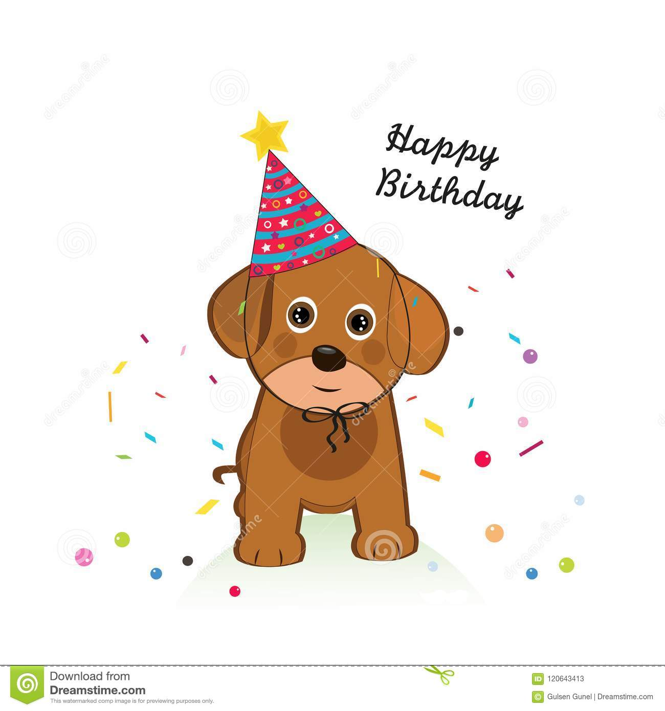 Dog With Balloon And Confetti Happy Birthday Greeting Card