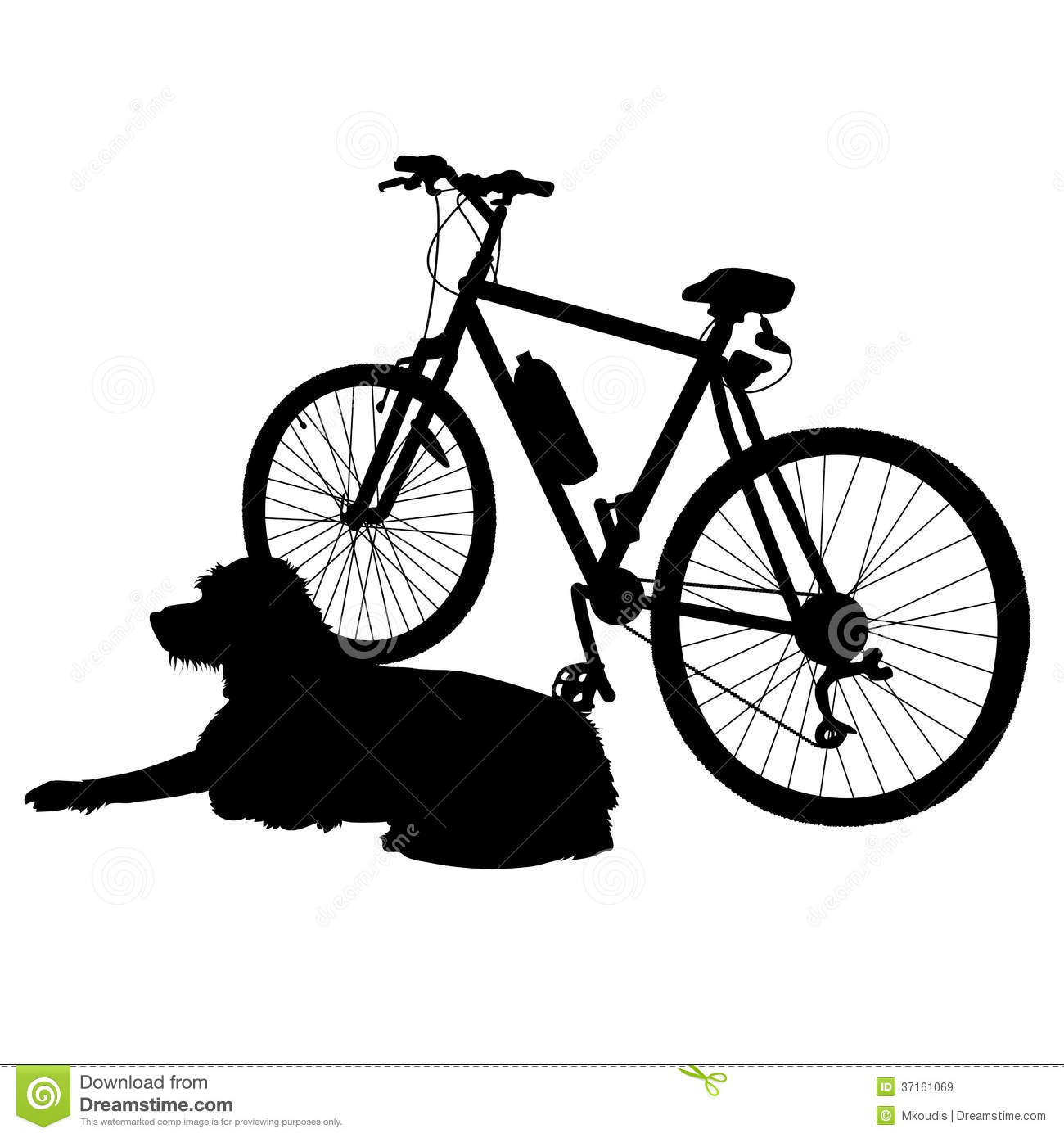 dog is lying dog next to a bike waiting for his owner to return.