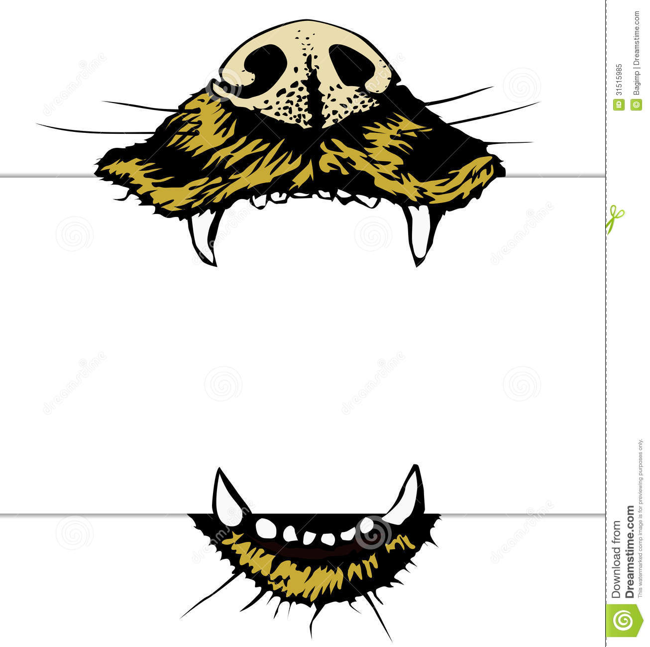 Vector illustration of dog mouth holding blank page.