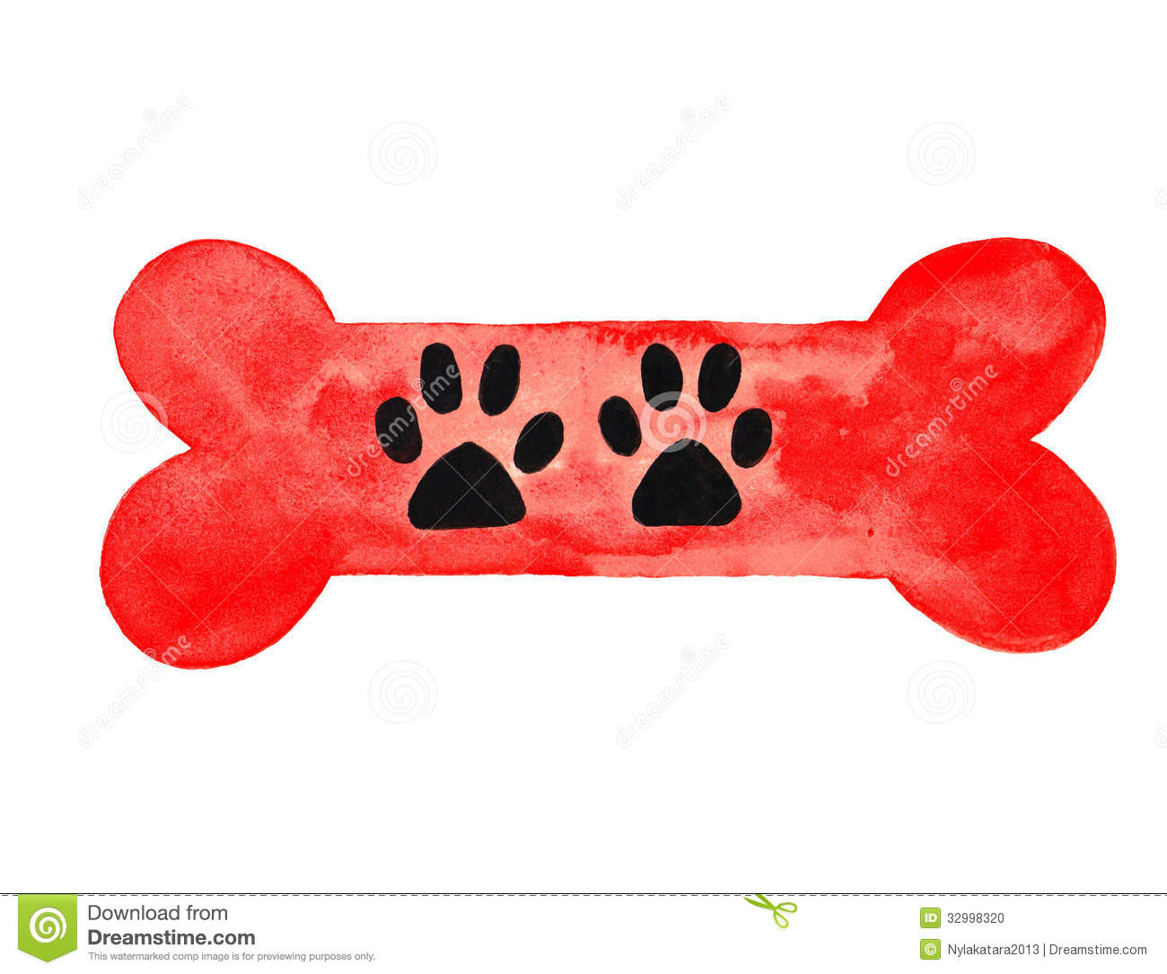Red large dog bone with black dog paw prints watercolor painting.