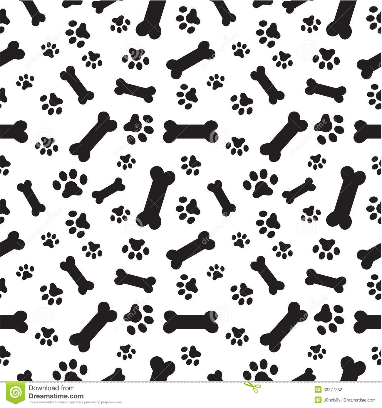 Dog Bones And Paws Pattern Stock Vector. Illustration Of