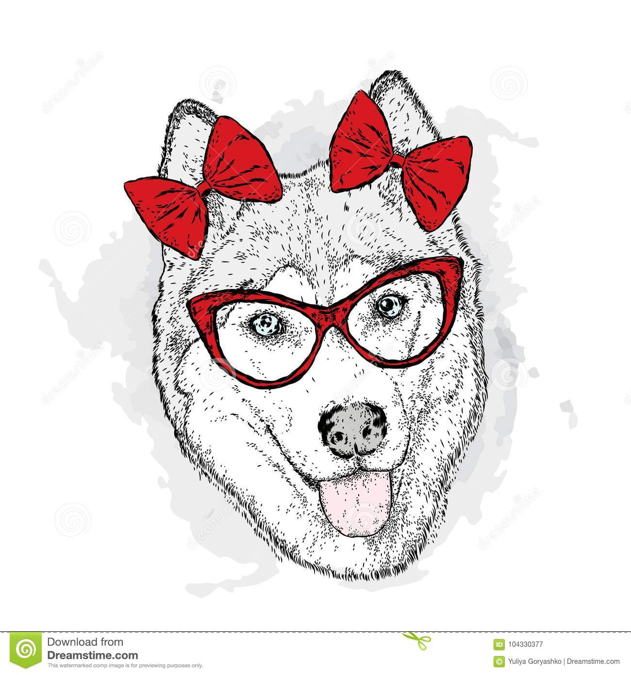 Dog with bows. Vector illustration. Cute Husky.