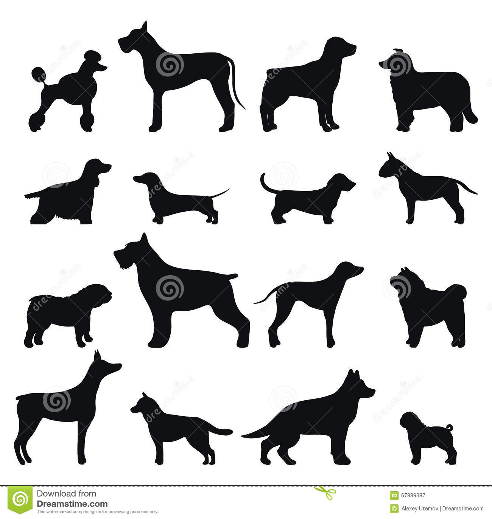 dog breed vector black silhouette stock vector
